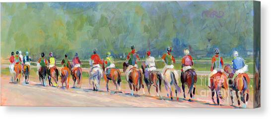 Thoroughbreds Canvas Print - The Post Parade by Kimberly Santini