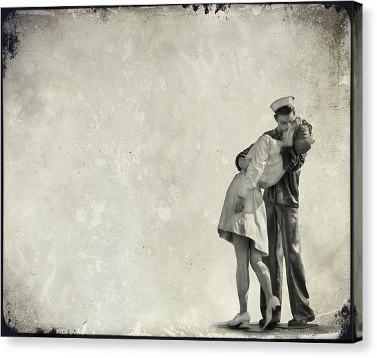 Statue Canvas Print - The Power Of A Kiss by Evelina Kremsdorf