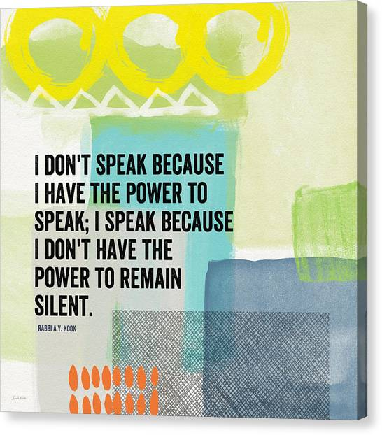 Judaism Canvas Print - The Power To Speak- Contemporary Jewish Art By Linda Woods by Linda Woods
