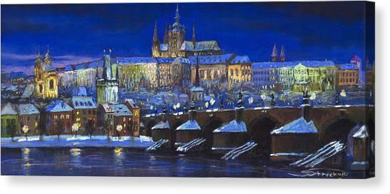 Pastel Canvas Print - The Prague Panorama by Yuriy Shevchuk