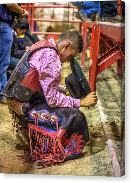 Rodeo Clown Canvas Print - The Cowboy Prayer Before The Rodeo by Rene Triay Photography