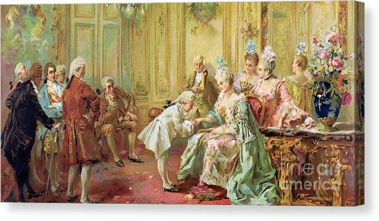 Presentations Canvas Print - The Presentation Of The Young Mozart To Mme De Pompadour At Versailles by Vicente de Parades