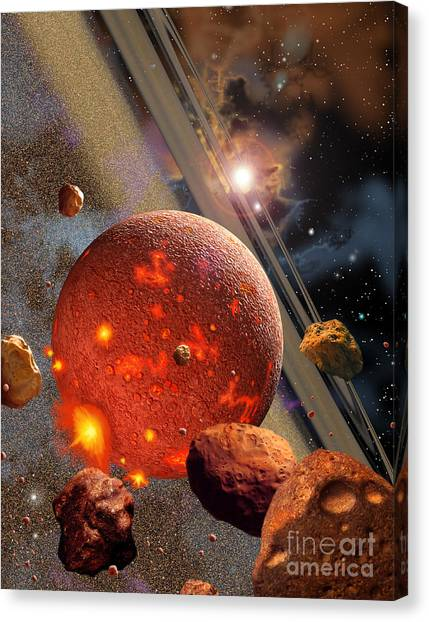 Planetoid Canvas Print - The Primordial Earth Being Formed by Ron Miller