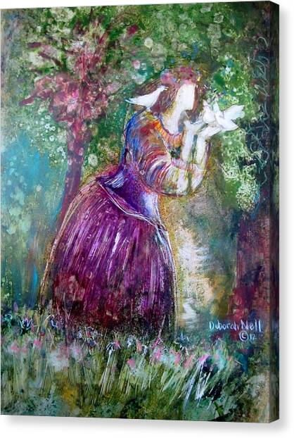 The Princess And The Birds Canvas Print