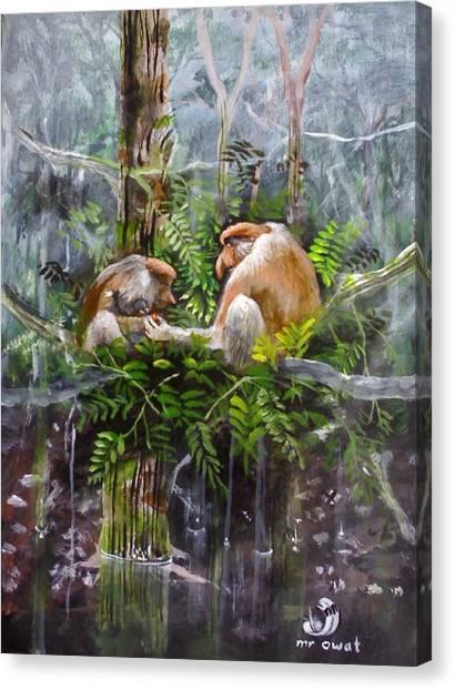 The Probosis Monkey Family Canvas Print by Muyang Kumundan