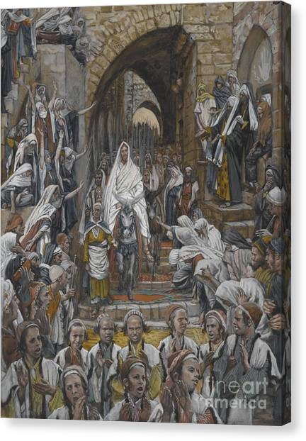 Holy Bible Canvas Print - The Procession In The Streets Of Jerusalem by Tissot