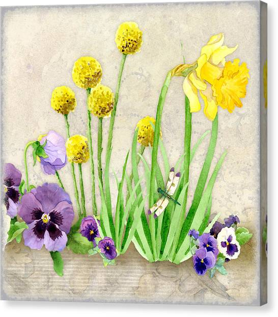 Daffodils Canvas Print - The Promise Of Spring - Dragonfly by Audrey Jeanne Roberts