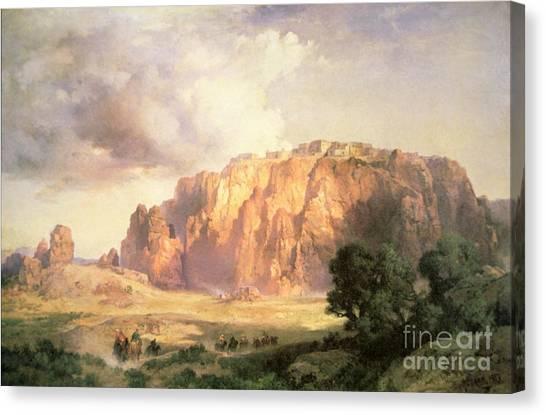 Moran Canvas Print - The Pueblo Of Acoma In New Mexico by Thomas Moran