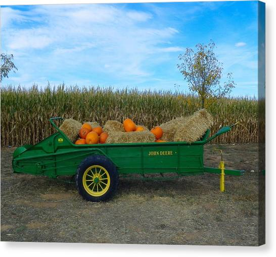 Corn Maze Canvas Print - The Pumpkins And Old John Deere by Loring Laven
