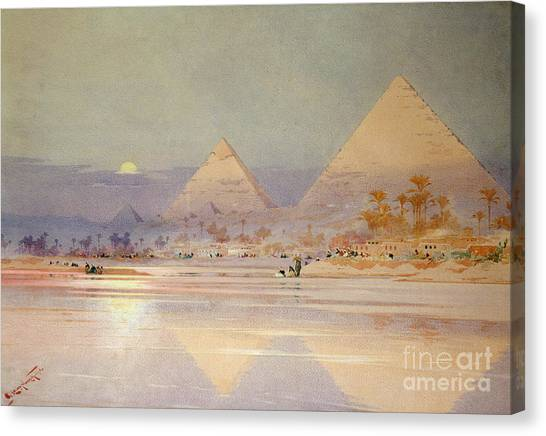 Moon Canvas Print - The Pyramids At Dusk by Augustus Osborne Lamplough