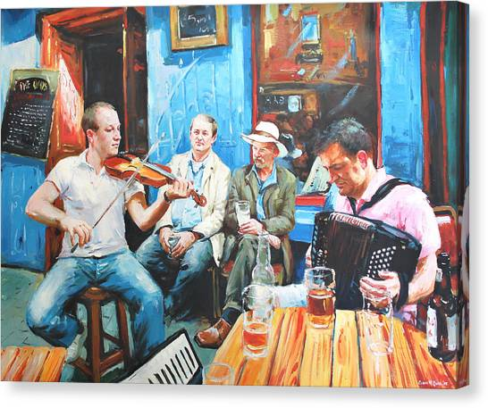 Fiddling Canvas Print - The Quay Players by Conor McGuire