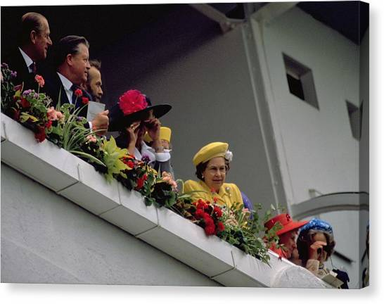 Michel Guntern Canvas Print - The Queen At Derby Day 1988 by Travel Pics
