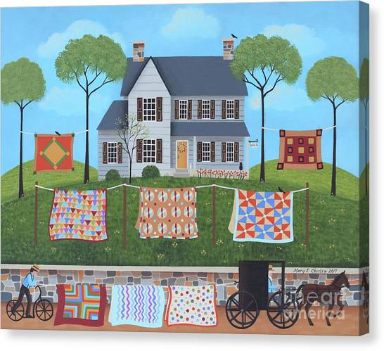 Amish Canvas Print - The Quilt Parade by Mary Charles