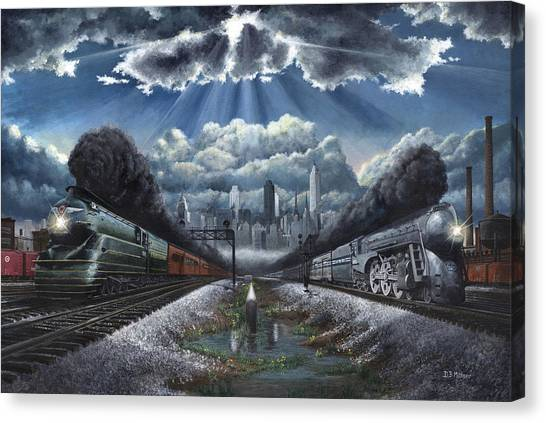 Trains Canvas Print - The Race by David Mittner