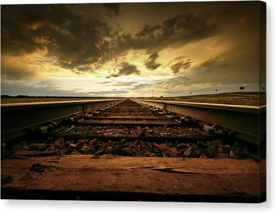 Train Conductor Canvas Print - Roll, Roll Me Away by Brian Gustafson