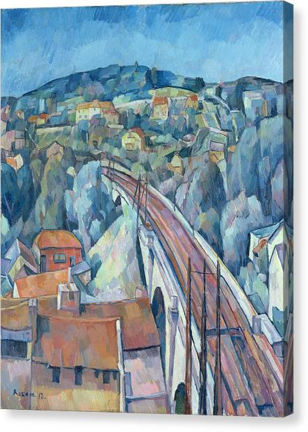 Post-impressionism Canvas Print - The Railway Bridge At Meulen by Walter Rosam