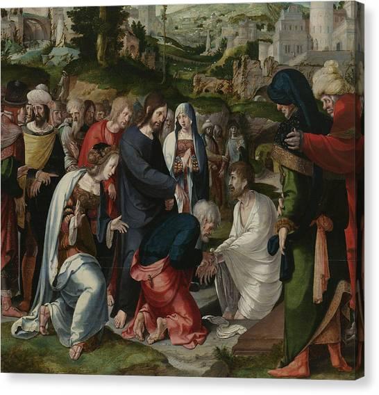 Resurrected Canvas Print - The Raising Of Lazarus by Aertgen Claesz van Leyden