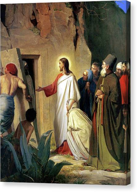 The Raising Of Lazarus Canvas Print by Carl Bloch