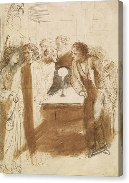 Raven Canvas Print - The Raven - Angel Footfalls by Dante Gabriel Rossetti