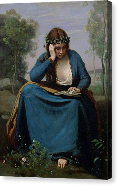 The Louvre Canvas Print - The Reader Crowned With Flowers by Jean Baptiste Camille Corot
