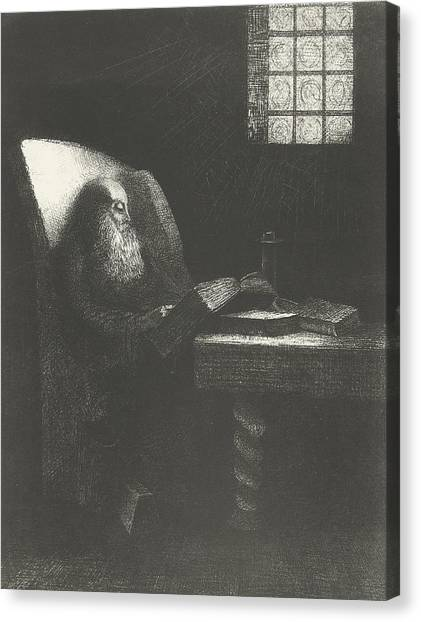 Grandpa Canvas Print - The Reader by Odilon Redon