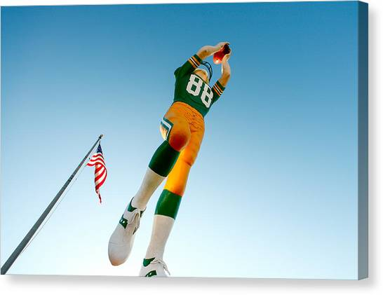 Green Bay Packers Canvas Print - The Receiver by Todd Klassy