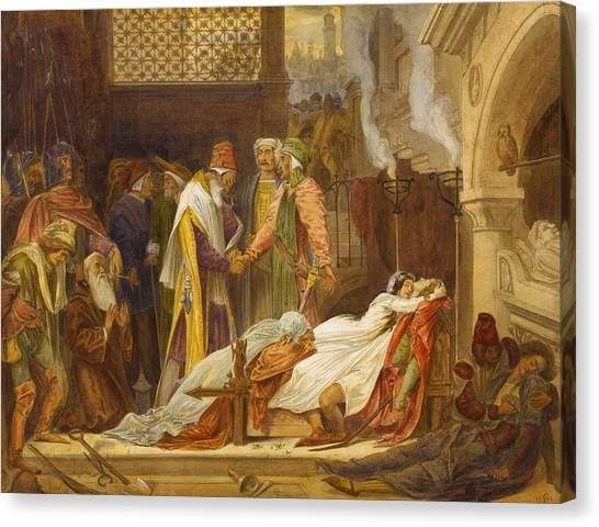 Pre-raphaelite Art Canvas Print - The Reconciliation Of The Montagues And The Capulets by Frederic Leighton