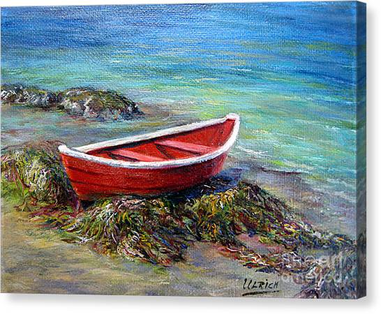 The Red Boat Canvas Print by Jeannette Ulrich