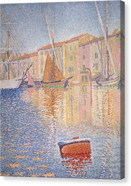 Pointillism Canvas Print - The Red Buoy by Paul Signac