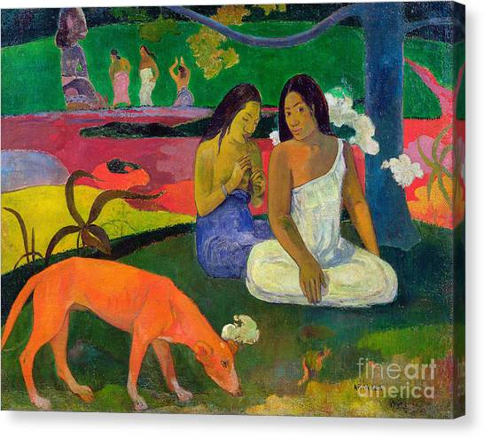 Colorful On Canvas Print - The Red Dog by Paul Gauguin