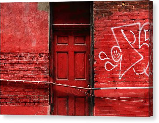 Graffiti Walls Canvas Print - The Red Door Bar by Kreddible Trout