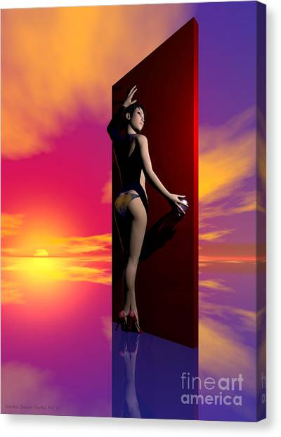 The Red Door Canvas Print by Sandra Bauser Digital Art