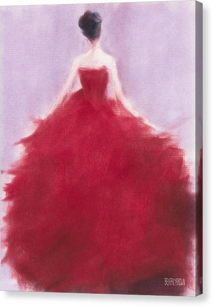 Red Dress Canvas Print - The Red Evening Dress by Beverly Brown Prints