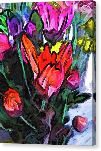 The Red Flower And The Rainbow Flowers Canvas Print