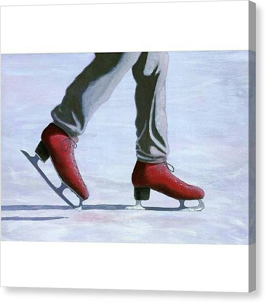 Ice Skating Canvas Print - The Red by Karyn Robinson