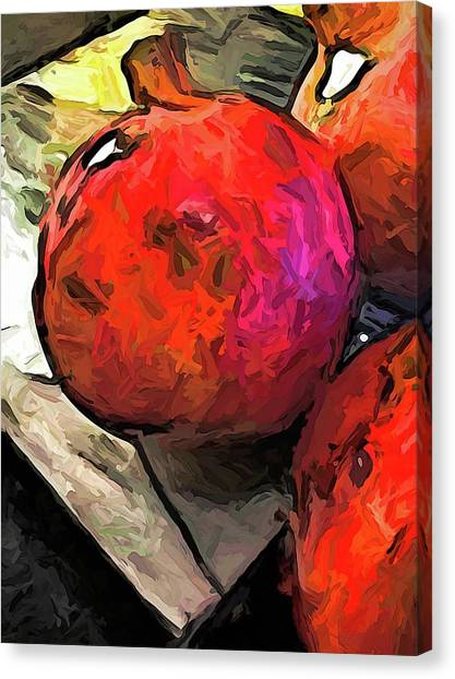 The Red Pomegranates On The Marble Chopping Board Canvas Print