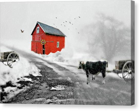 Red Barn In Winter Canvas Print - The Red Red Barn by Diana Angstadt