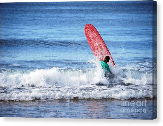 The Red Surfboard Canvas Print by Joe Scoppa