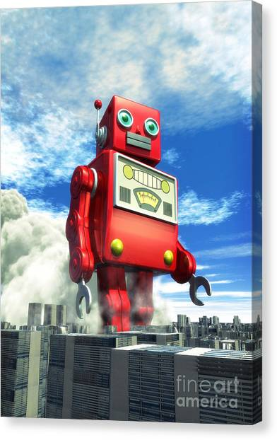 City Landscape Canvas Print - The Red Tin Robot And The City by Luca Oleastri