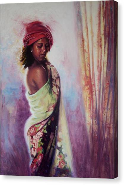Bare Shoulder Canvas Print - The Red Turban by Colin Bootman