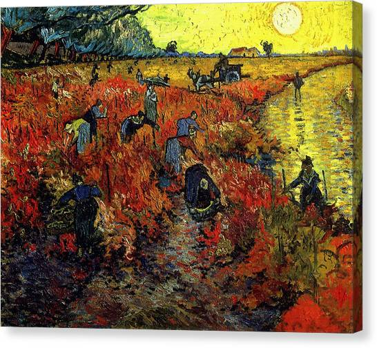 Canvas Print featuring the painting The Red Vineyard At Arles by Van Gogh