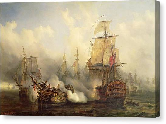 Ships Canvas Print - Unknown Title Sea Battle by Auguste Etienne Francois Mayer