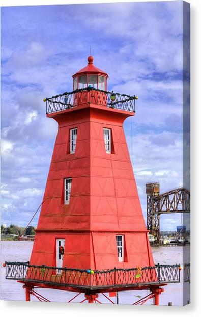 Atchafalaya Basin Canvas Print - The Reef Lighthouse by JC Findley