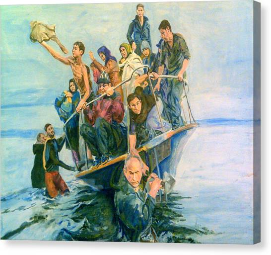 The Refugees Seek The Shore Canvas Print