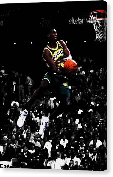 Denver Nuggets Canvas Print - The Reign Man Shawn Kemp by Brian Reaves