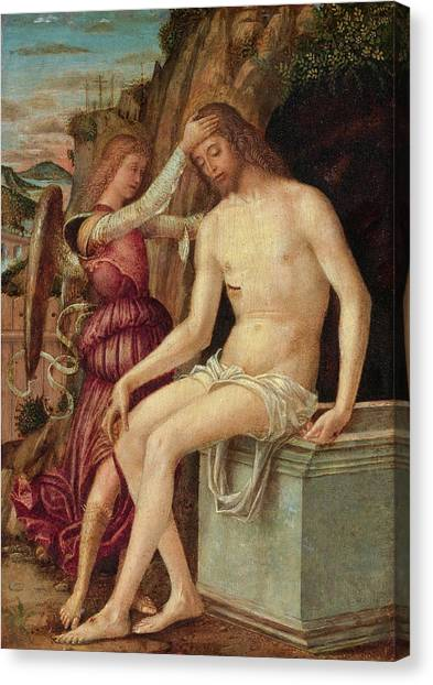 Resurrected Canvas Print - The Resurrected Christ With An Angel by Giovanni Francesco Maineri