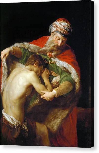 Canvas Print featuring the painting The Return Of The Prodigal Son by Pompeo Batoni