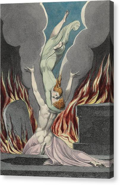 English And Literature Canvas Print - The Reunion Of The Soul And The Body by Sir William Blake