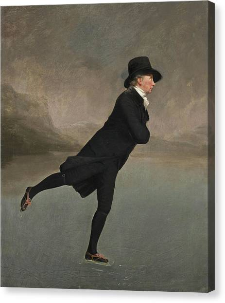 Figure Skating Canvas Print - The Reverend Robert Walker Skating On Duddingston Loch by Sir Henry Raeburn