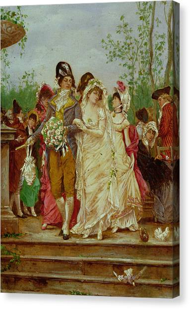 Wedding Bouquet Canvas Print - The Revolutionist's Bride, Paris, 1799 by Frederik Hendrik Kaemmerer